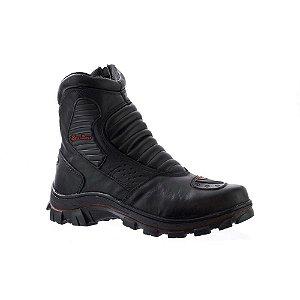 Bota Linha Motoqueiro de Couro Bell Boots Masculina - Preto