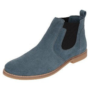 Botina Chelsea Boots Azul Turqueza Em Couro Camurça