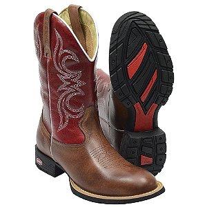 Bota Texana Country Bico Redondo Vermelha