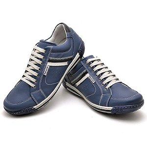 Sapatênis em Couro Legítimo  - Azul - Ref. 3007