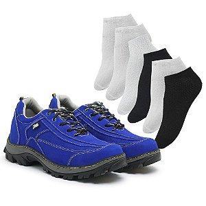 Tênis em couro legítimo Zarb - Azul - 6 Pares de Meia