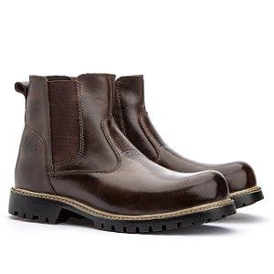 Botina em couro Legítimo Jhon Boots - Café - Ref.500