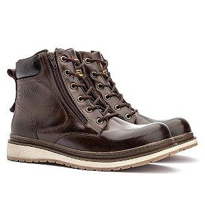 Bota Jhon Boots Zip One em Couro - Café