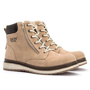 Bota Jhon Boots Zip One em Couro - Marfim