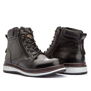 Bota Jhon Boots Zip One em Couro - Preto