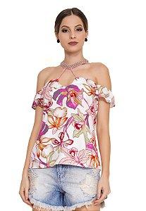 Blusa Floral com Bordado Rosê
