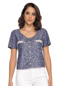 Blusa Haven Denim Estampada