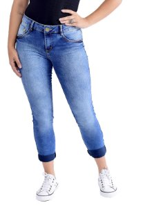 CALÇA CROPPED STRETCH BLUE