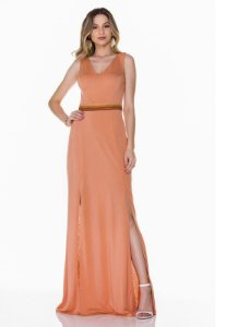 Vestido longo com fenda Rosa K