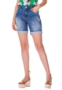 Shorts jeans barra virada Rosa K