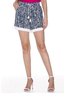 Shorts Estampado com cordão Moça de pano