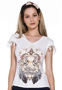 T-shirt guipir estampada moça de pano