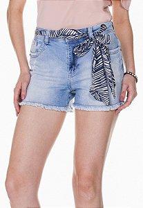 Shorts Jeans c/ Cinto Floral Rosa K