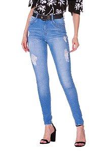 Calça Skinny c/ Puídos Rosa K