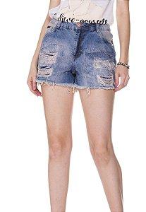 Shorts Jeans c/ detalhes Rosa K