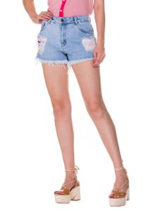 Shorts Jeans c/ Puídos Rosa K