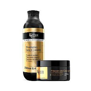 KIT Shampoo e Máscara de Caviar | Tratamento de Apliques e Mega Hair
