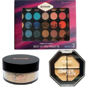 Paleta 35 Cores + Corretivo Complete Cover + Pó Iluminador Facial - SPColors