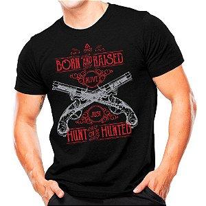 Camiseta Militar Estampada Hunt Or Be Hunted