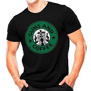 Camiseta Militar Estampada Guns and Coffe