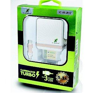 Carregador De Celular Turbo 5.1a 3 Saída