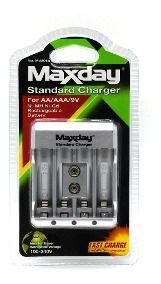 Carregador Para Pilhas Maxday Aa/AAA/9v Carregamento Rápido
