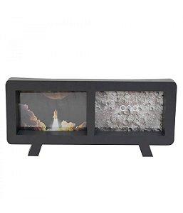 Porta Retrato Preto Televisão Para 2 Fotos 10x15cm