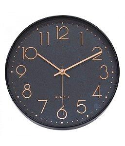 Relógio De Parede Preto Estilo Refinado 25x25cm