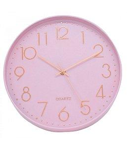 Relógio De Parede Rosa 30x30cm