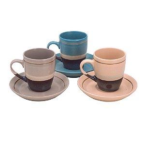 Conjunto de 6 xícaras de café porcelana 100ml Rojemac