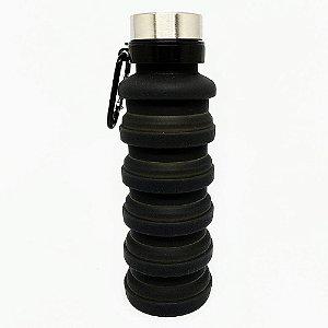 Garrafa De Silicone Retrátil Com Alça De Metal 470ml