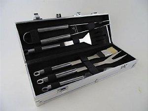 Kit Churrasco Com 5 Peças e 1 Maleta Em Alumínio