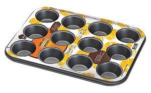 Forma Assadeira Cupcake 12 Cavidades Antiaderente 5cm