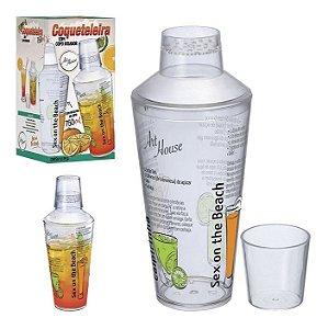 Coqueteleira Caipirinha Acrílica 750ml Drink com Copo Dosador