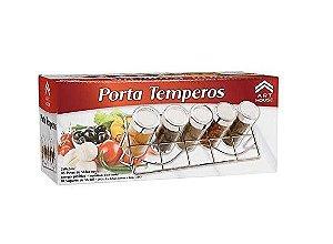 Suporte Com 5 Porta Condimento Tempero Vidro Torre Cozinha
