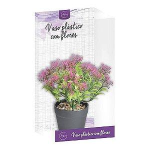 Vaso Plástico Com Flores Art House