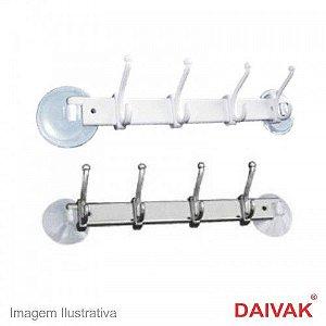 Cabide Multiuso Cromado Com Ventosa 4 Ganchos Daivak 137
