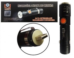 Mini Lanterna Tática Recarregável Com Zoom Usb