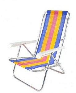 Cadeira Alumínio Praia Piscina Lazer 8 Posições Bel Lazer
