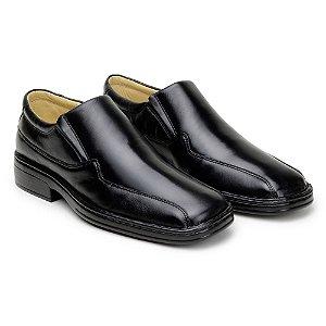 Sapato Masculino De Couro Legitimo Comfort Shoes - Ref. 500 Preto