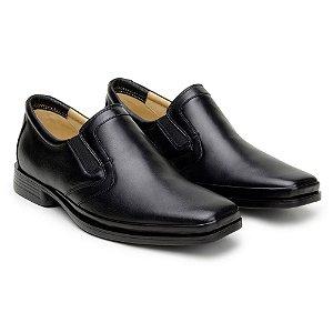 Sapato Masculino De Couro Legitimo Comfort Shoes - Ref. 216 Preto