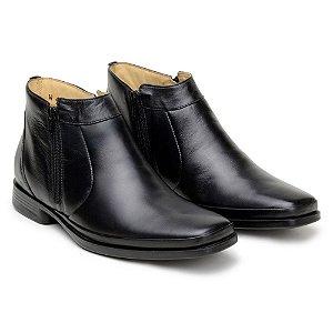 Botina Masculina De Couro Legitimo Comfort Shoes - Ref. 1051 Preta