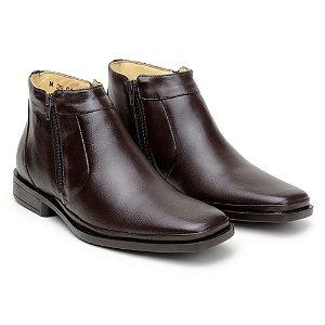 Botina Masculina De Couro Legitimo Comfort Shoes - Ref. 1051 Café