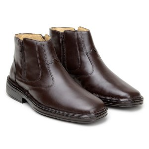 Botina Masculina De Couro Legitimo Comfort Shoes - Ref. 1001 Café