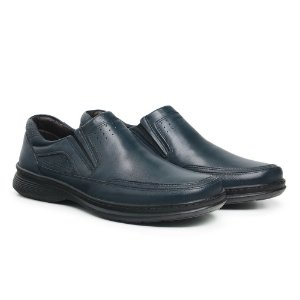 Sapato Masculino de Couro Legítimo Comfort Shoes - Ref. 6021 Azul