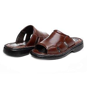 Sandália Masculina Comfort Shoes de Couro Legítimo - Ref.8013 Pinhão