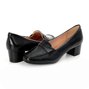 Sapato Feminino De Couro Legitimo Preto - Liquidação