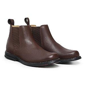 Botina Masculina De Couro Legítimo Comfort Shoes - 7000 Café