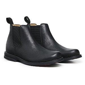 Botina Masculina De Couro Legítimo Comfort Shoes - 7000 Preto