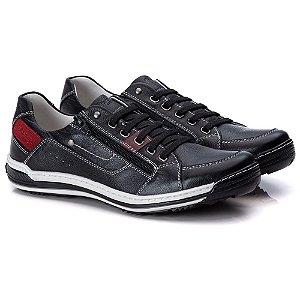 Sapatênis Masculino De Couro Legitimo Comfort Shoes - 3015 Preto